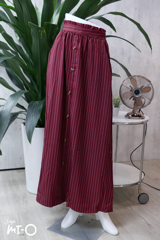 Alva Buttoned Long Skirt in Striped Burgundy - Saja Mi-O