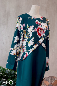 Jamila Floral Dress in Forest Green