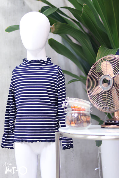 Ashtar Striped Top in Navy (Kids) - Saja Mi-O
