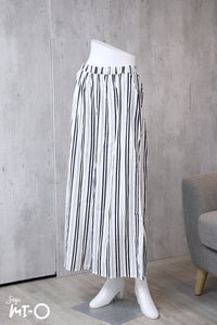 Aiza Striped Palazzo Pants in White