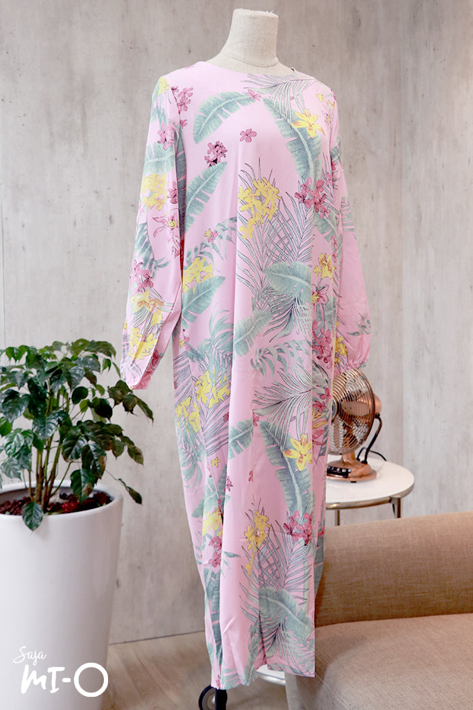 Hajra Botanical Prints Abaya in Pink