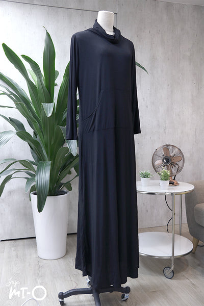 Mela Roll-Neck Dress in Classic Black - Saja Mi-O