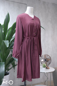Lydia Tie-Waist Shirtdress in Plum - Saja Mi-O