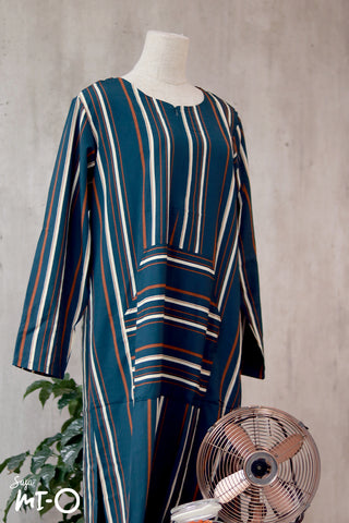 Vanya Casual Stripes Dress in Teal Green