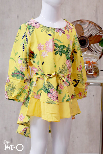 Dhia Full Bloom Kids' Top in Yellow - Saja Mi-O