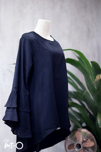 Jasrah Layered Ruffle Sleeve Blouse in Black