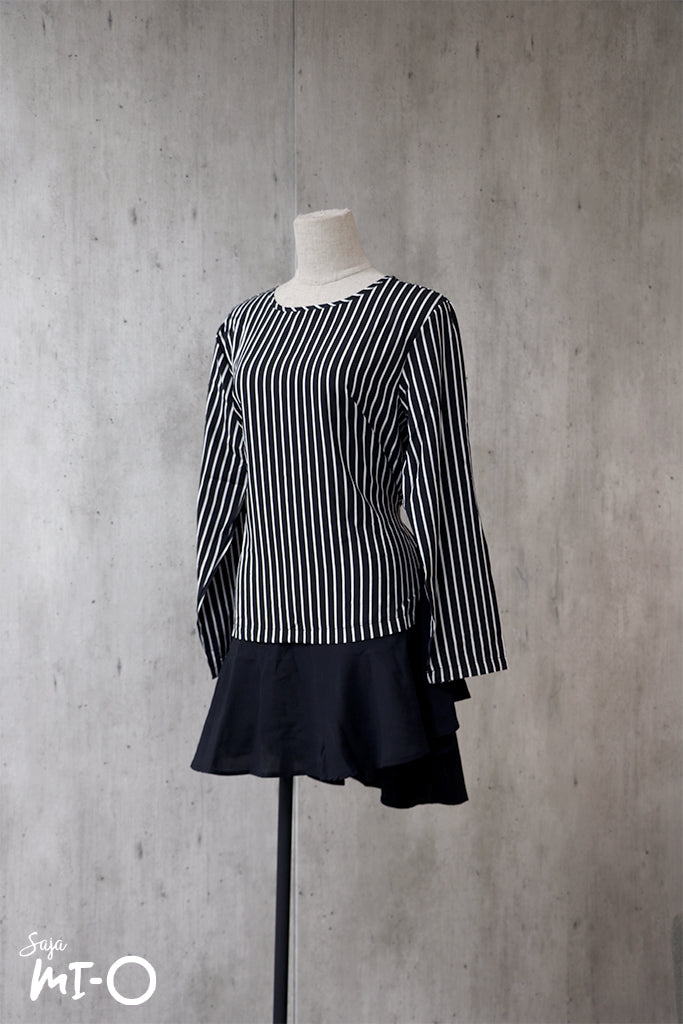 Nadia Good Vibes Striped Top in Black - Saja Mi-O