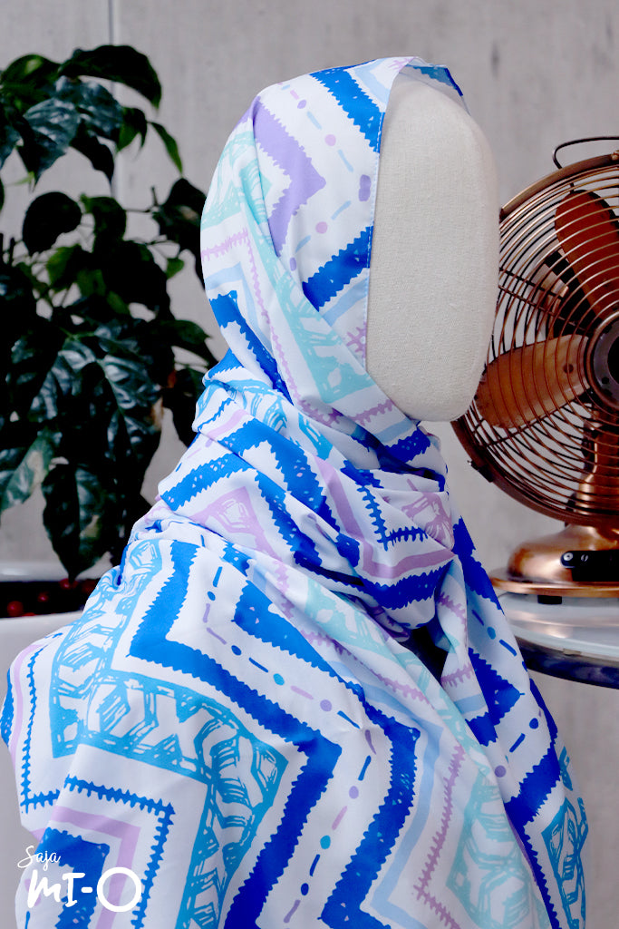 Siti Tribal Prints Tudung in Purple Blue - Saja Mi-O