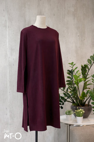 Leith Simply Slits Dress in Plum