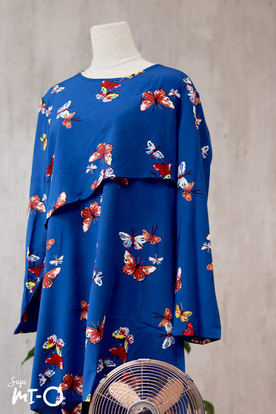 Thea Butterfly Prints Shirt Dress in Blue