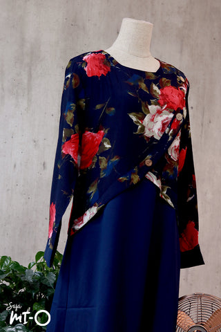 Jamila Painted Blooms Dress in Navy