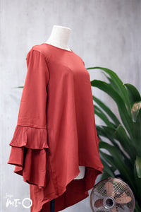 Jasrah Layered Ruffle Sleeve Blouse in Russet Brown