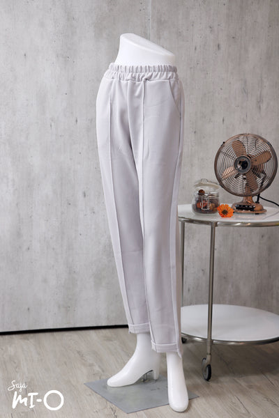Sofia Elasticised Solid Pants in Grey