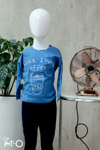 Olivia Coffee-First Kids' Top In Sapphire Blue - Saja Mi-O