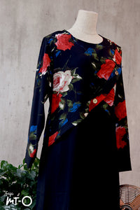Jamila Painted Blooms Dress in Black