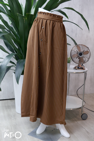 Alva Buttoned Long Skirt in Striped Brown - Saja Mi-O