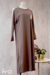 Kinza Long Dress in Umber Brown
