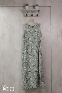 Camila Sleeveless Floral Dress in Mint Green - Saja Mi-O