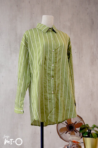 Tara Stripes Collared Top in Army Green