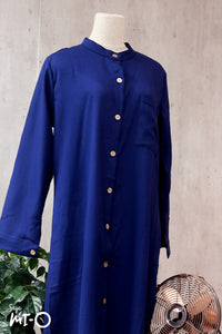 Raidah Solid Button-down Abaya in Deep Blue