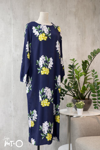 Caitlyn Floral Dress in Navy