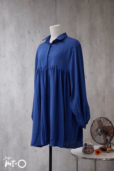 Farah Collar Top in Indigo Blue - Saja Mi-O