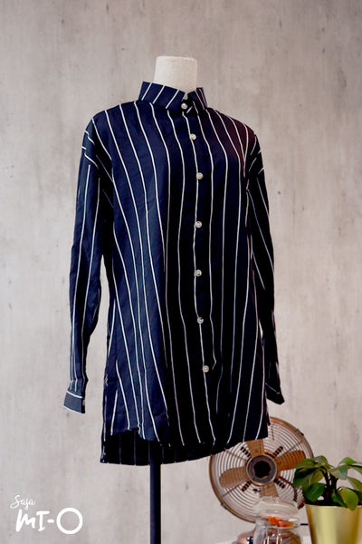 Tara Stripes Collared Top in Black - Saja Mi-O