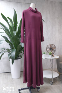 Mela Roll-Neck Dress in Dark Raspberry - Saja Mi-O