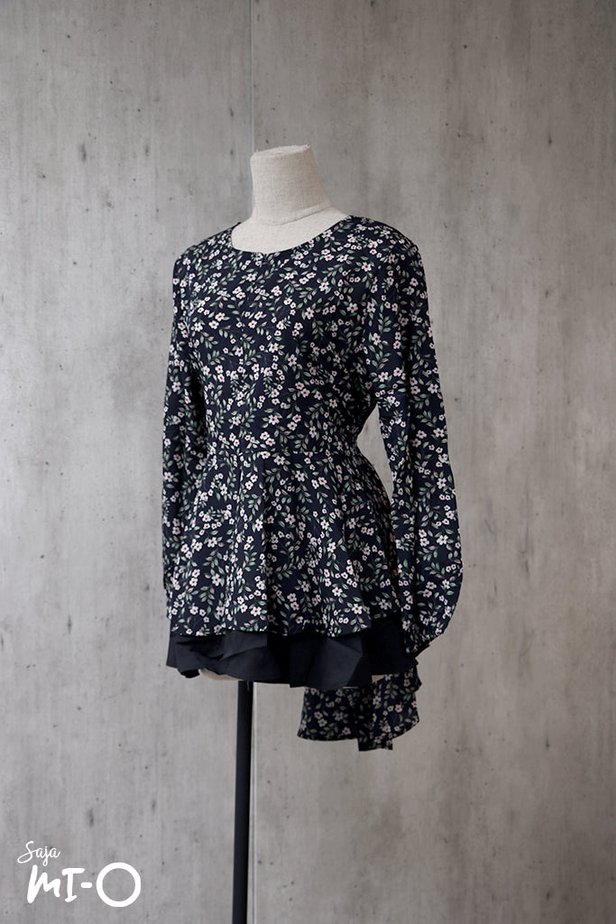 Dhia Echoes of Spring  Top in Black - Saja Mi-O