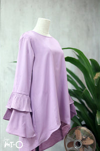 Jasrah Layered Ruffle Sleeve Blouse in Dusty Purple