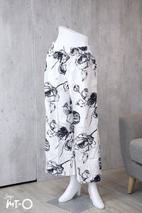 Kareema Classic Fleur Wide Pants in White - Saja Mi-O