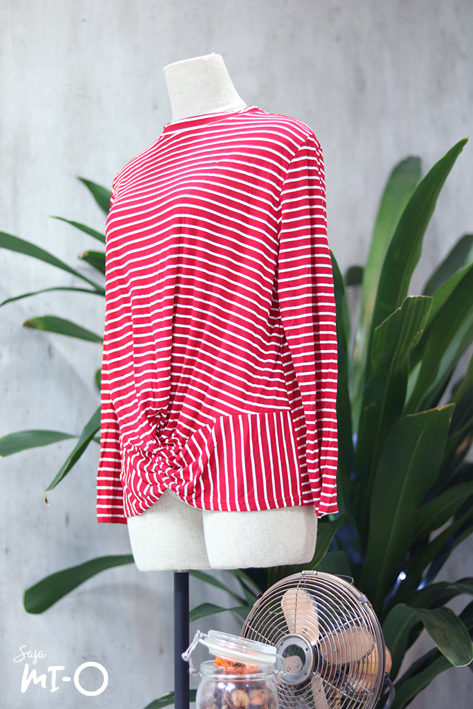 Nura Striped Twist Front Blouse in Red