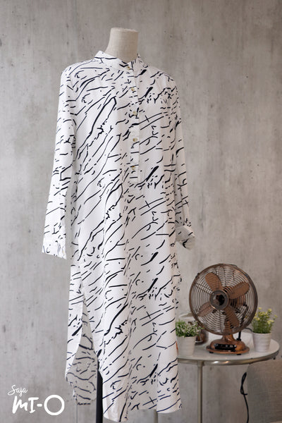 Lina Abstract Scribble Longline Top in White - Saja Mi-O