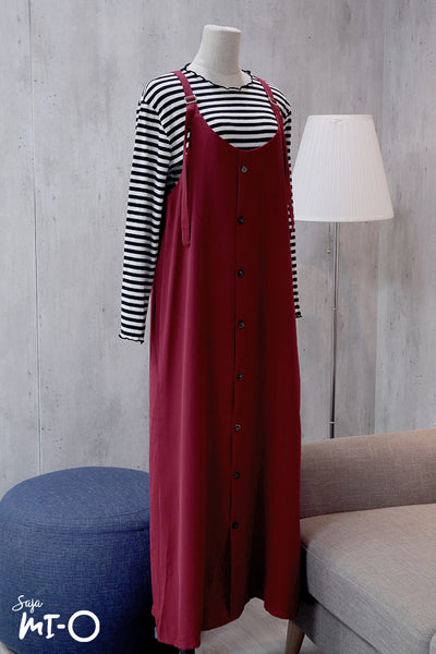 Kate Outer Slip Dress in Burgundy - Saja Mi-O