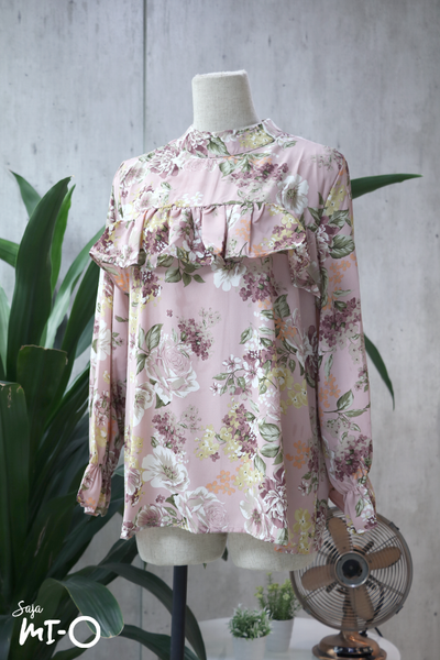 Zia Ruffle Front Blossoms Top in Pink - Saja Mi-O