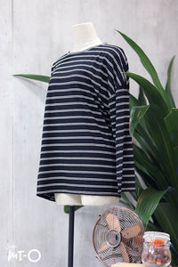Lina Basic Striped Top in Black