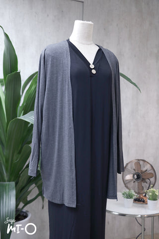 Casey Slip Cardigan in Steel Grey