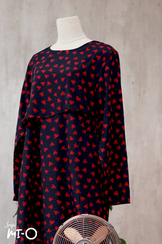 Thea Heart Prints Shirt Dress in Black