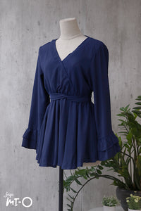 Daneen V-Neck Top in Midnight Blue - Saja Mi-O