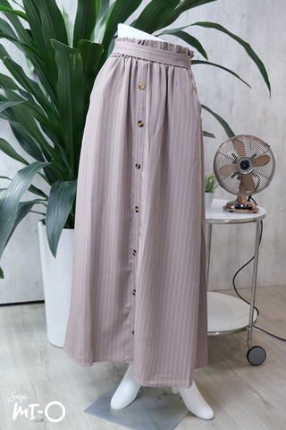 Alva Buttoned Long Skirt in Striped Lilac