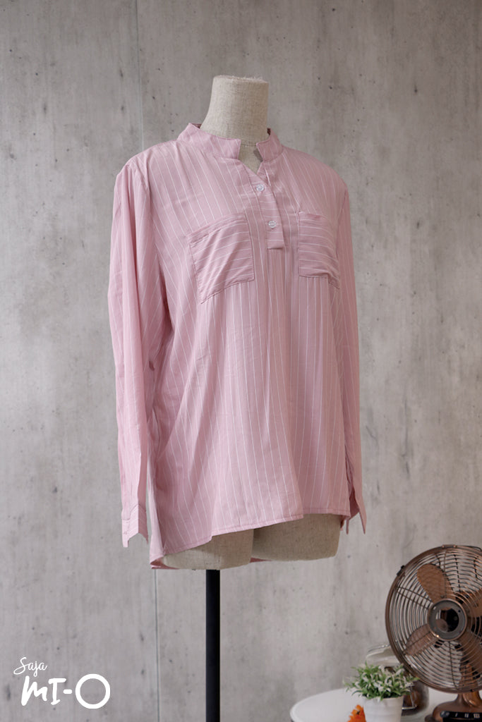 Natalie Twin Pocket Stripes Top in Pink