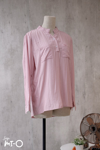 Natalie Twin Pocket Stripes Top in Pink - Saja Mi-O