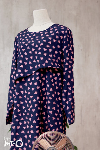 Thea Heart Prints Shirt Dress in Navy