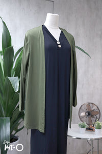 Casey Slip Cardigan in Army Green - Saja Mi-O