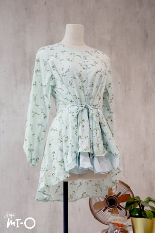 Dhia Floral Clusters Top in Mint Green - Saja Mi-O