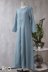 Nikka Long Sleeve  Solid Dress in Light Turquoise