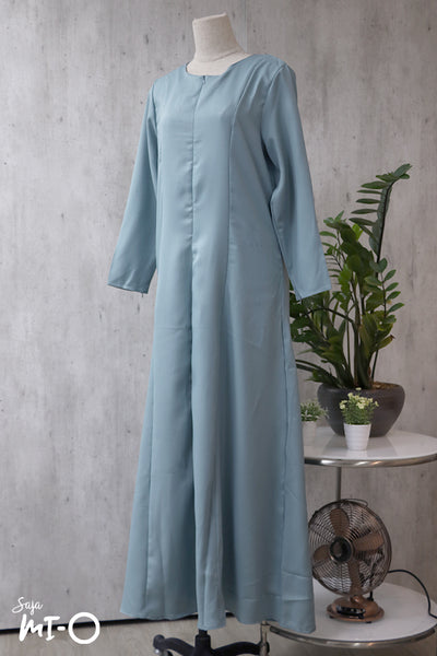 Nikka Long Sleeve  Solid Dress in Light Turquoise - Saja Mi-O