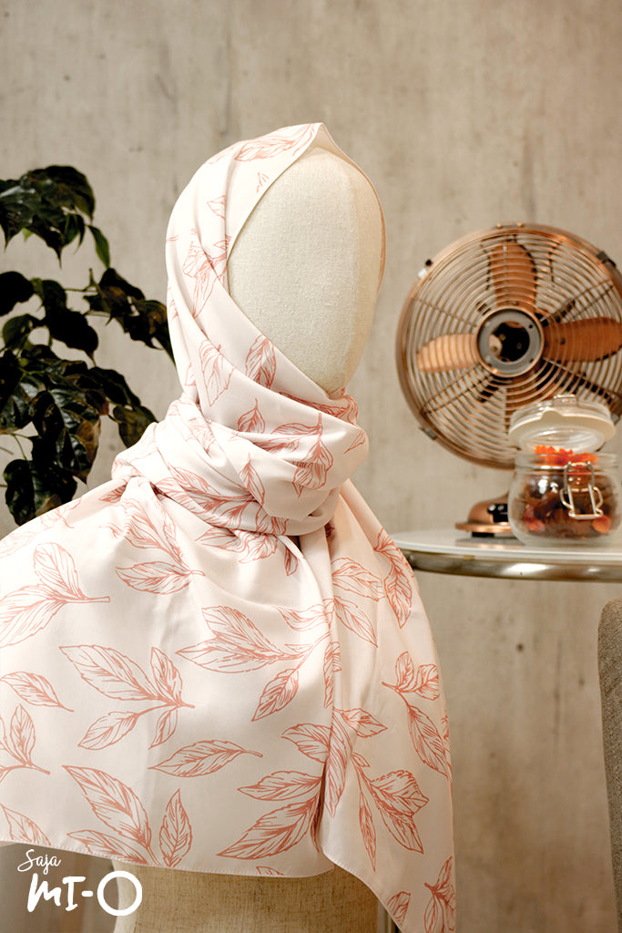 Reema Subtle Palm Leaves Scarf in Coral - Saja Mi-O