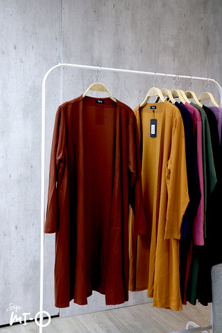 Nisa Open Cardigan in Rust Brown - Saja Mi-O