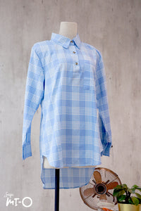 Zahia Checkered Collared Top in Sky Blue